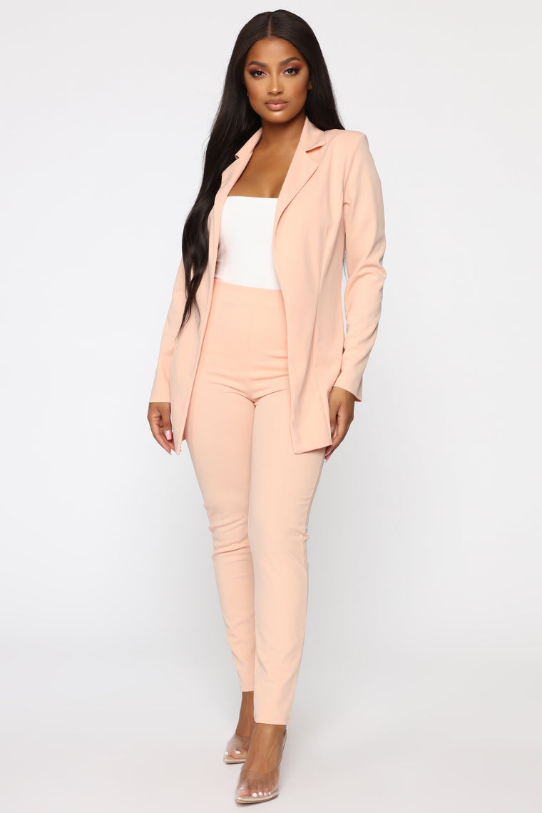 Morning Meeting Blazer Set - Blush