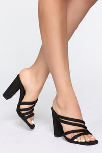 Mixed Signs Heeled Sandals - Black