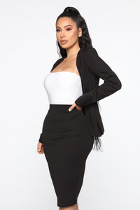 Payin' It Forward Blazer Skirt Set - Black