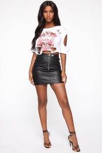 Terry High Rise Mini Skirt - Black