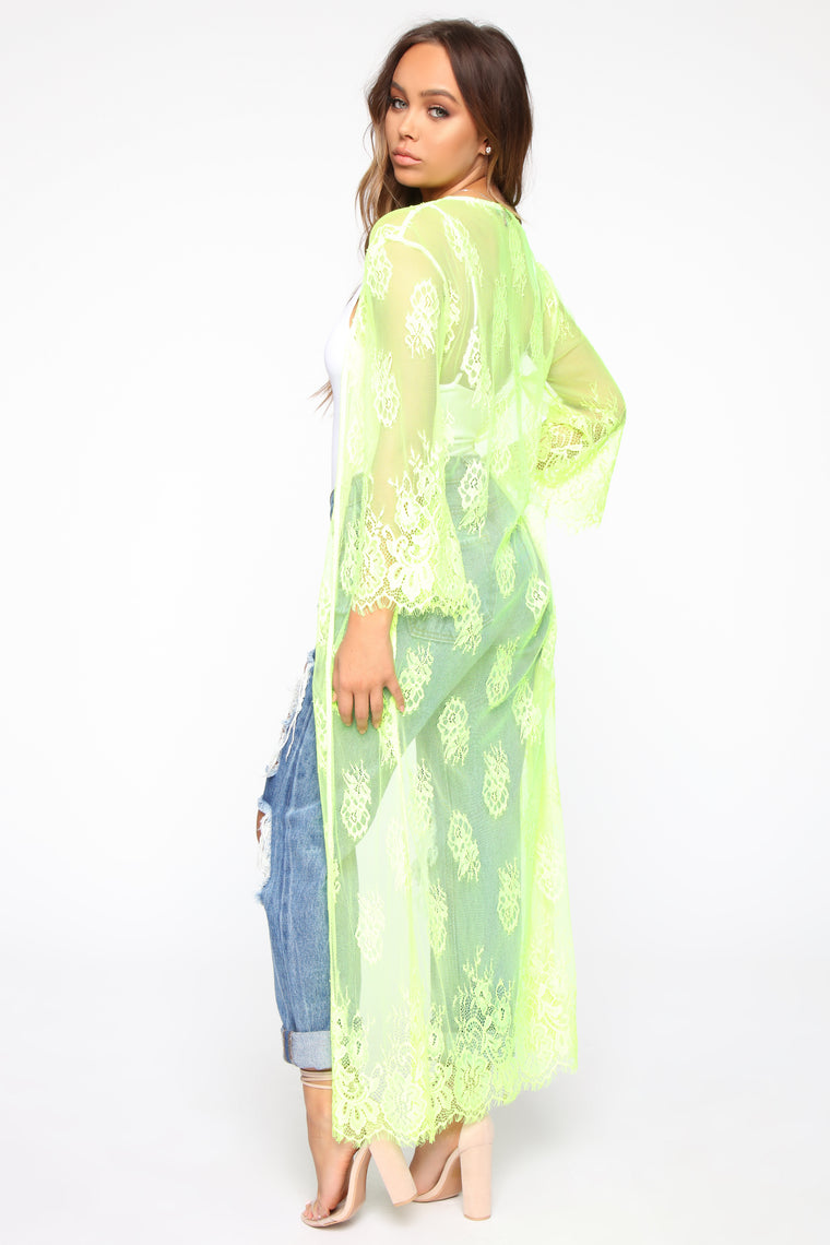 Lovers And Lace Kimono - Neon Yellow