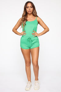 Relax And Chill French Terry Romper - Kelly Green