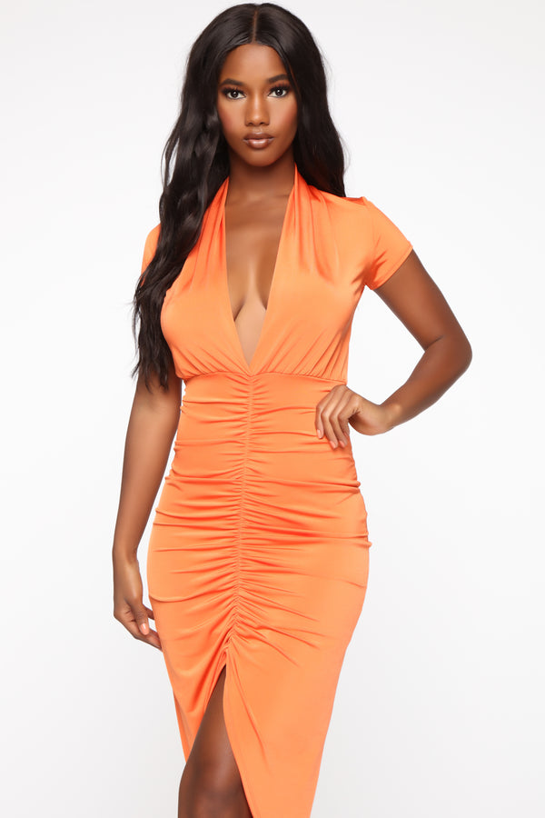 3ae48dfa0a Don't Ruche The Technique Midi Dress - Orange