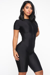 Zipping Through Biker Short Romper - Black