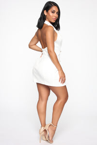 Always In Charge Blazer Mini Dress - Off White