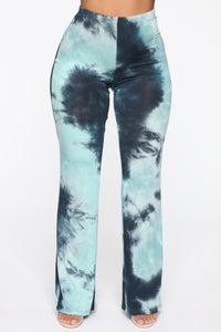 Up In The Clouds Flare Pants - Teal/Combo