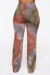 The Tide Is High Tie Dye Flare Pants - Green/Combo