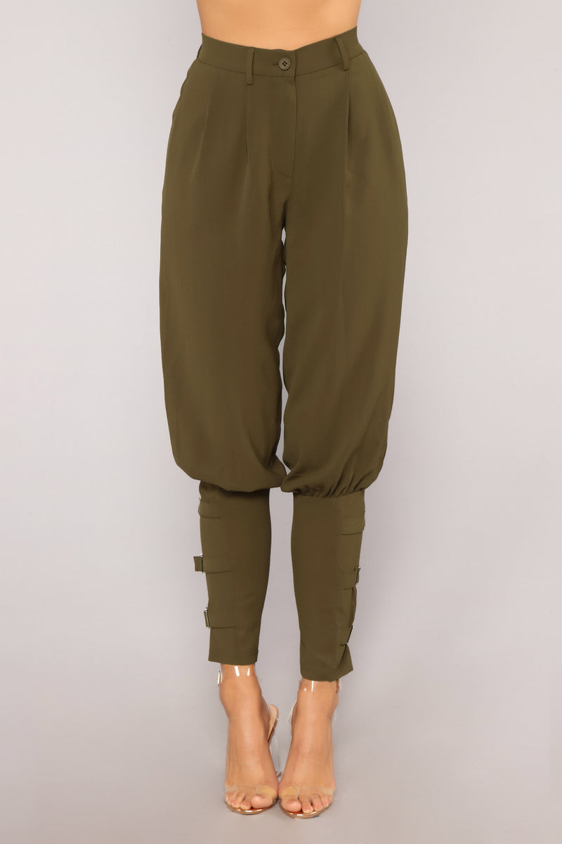 Strapped Up Pants - Olive