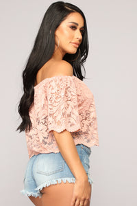 Here For Lace Off Shoulder Top - Mauve