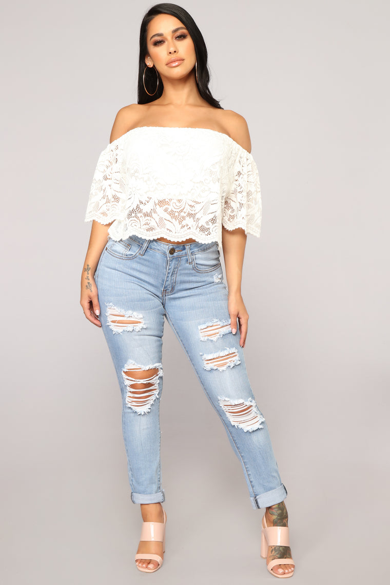 Show You Up Distressed Jeans - Light Blue Wash