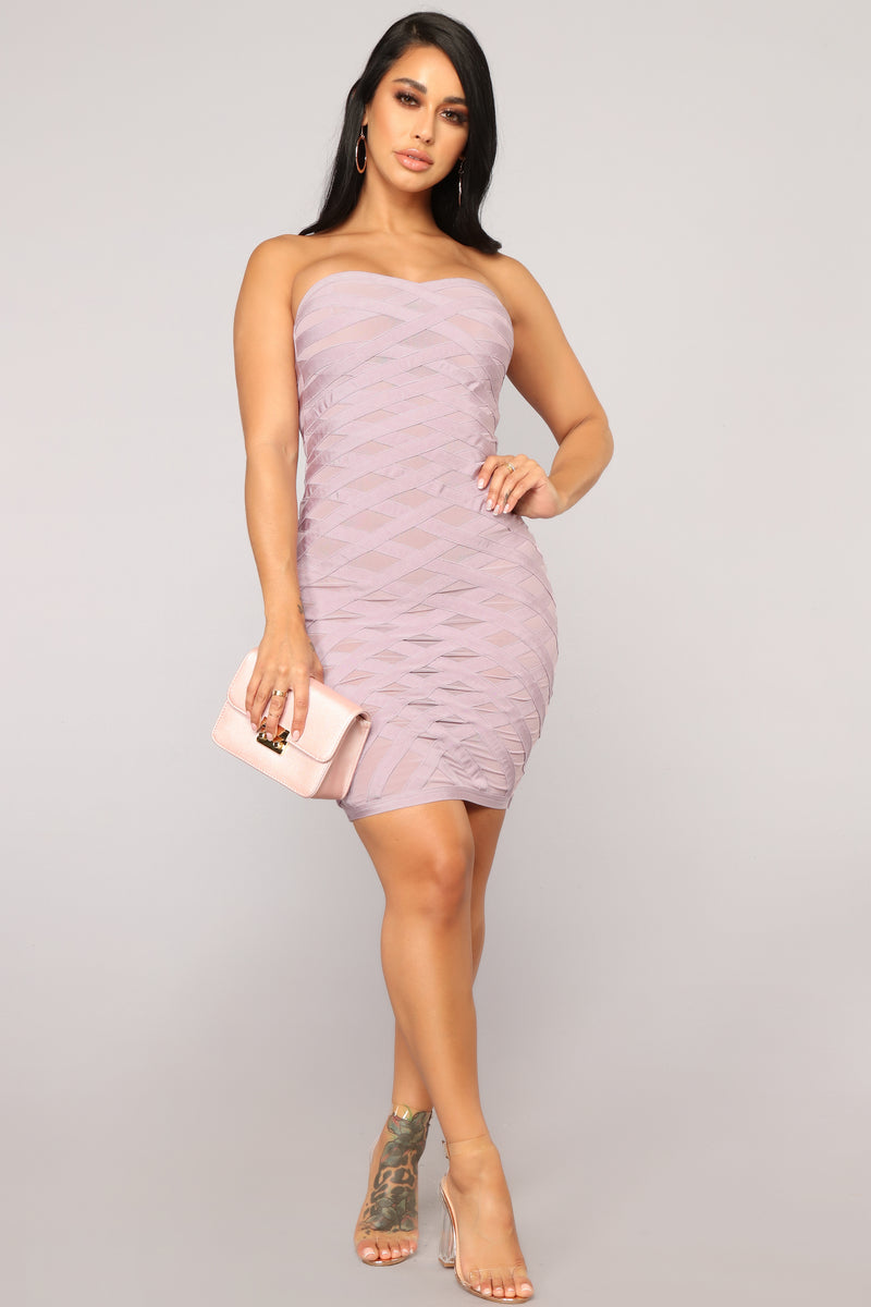 VIP Section Bandage Dress - Lavender