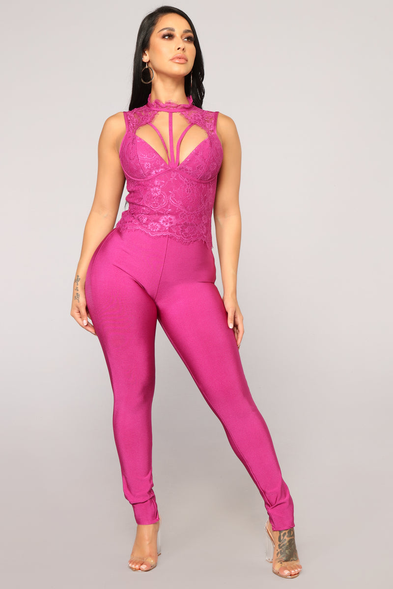Endless Love Lace Jumpsuit - Magenta
