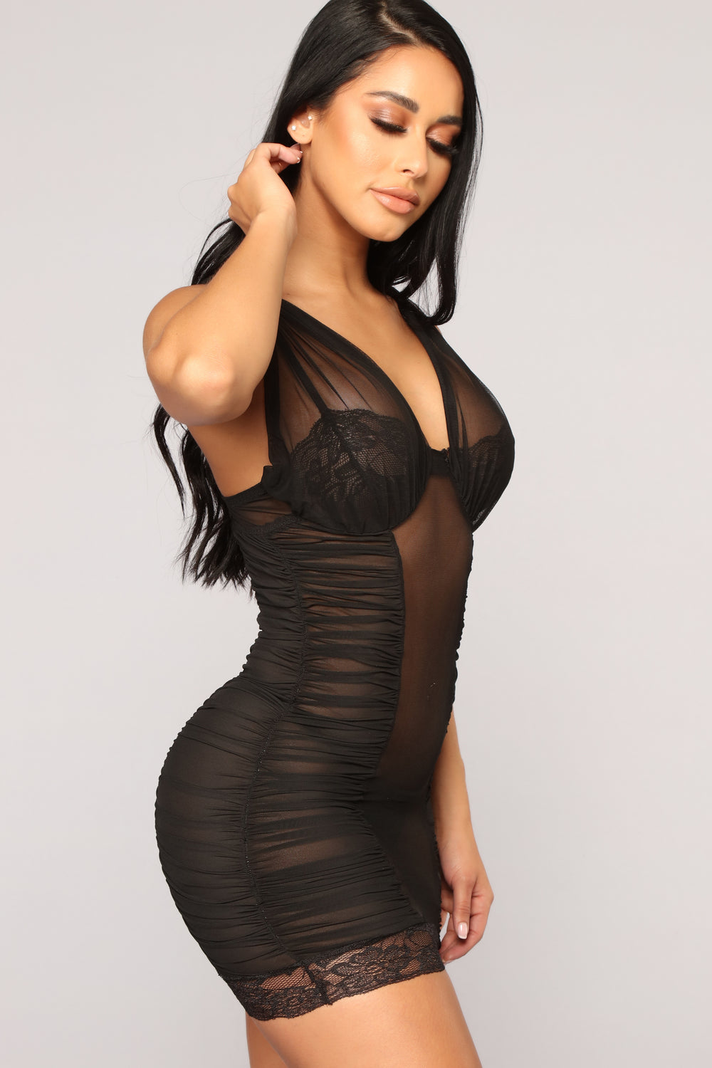 Love On The Brain 2 Piece Chemise Set - Black