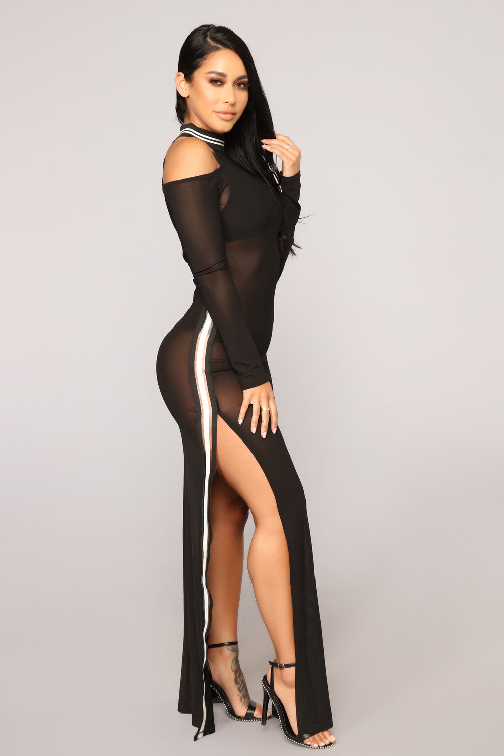 Don't Hate The Player Mesh Dress - Black