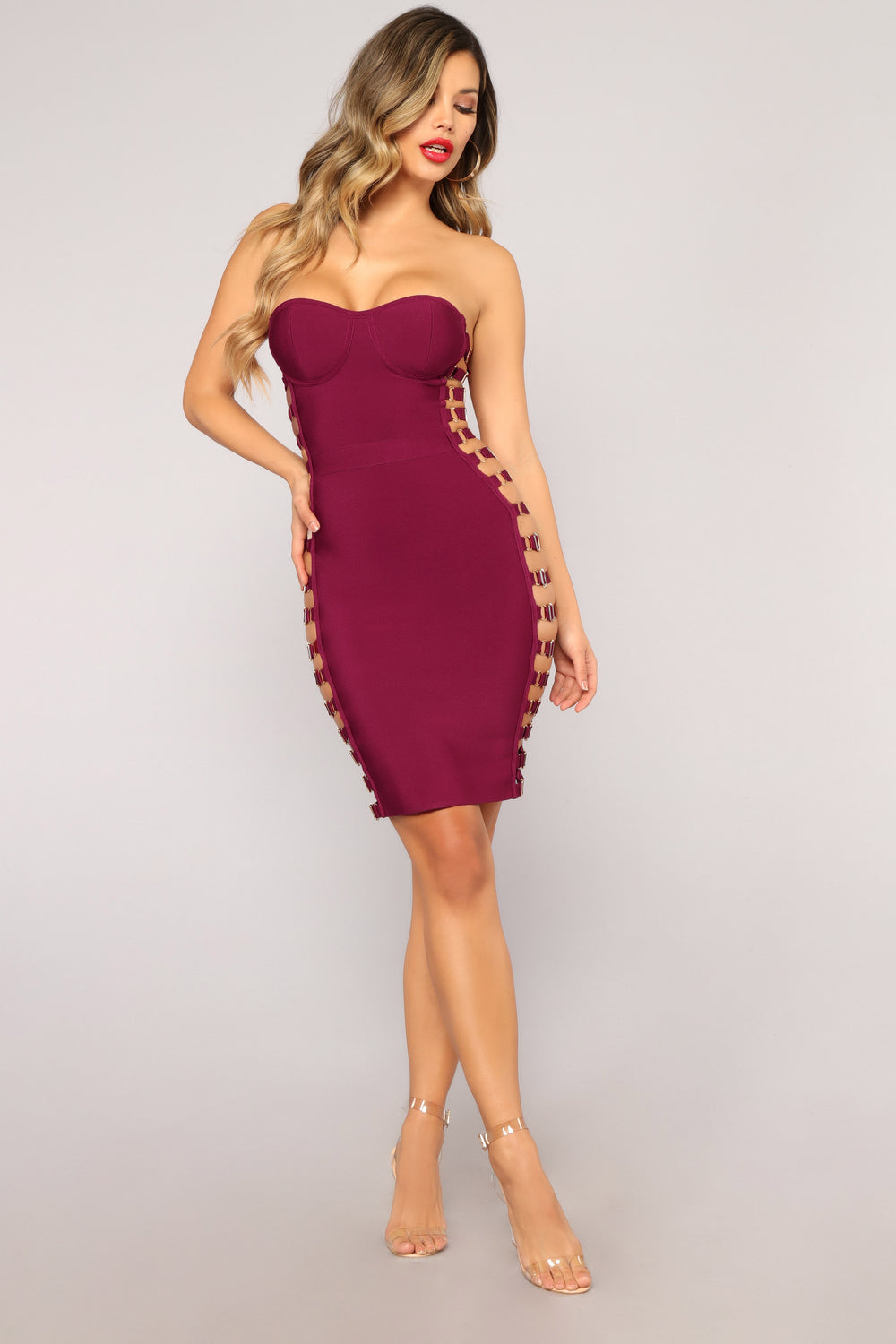 Can't Remember Bandage Dress - Burgundy