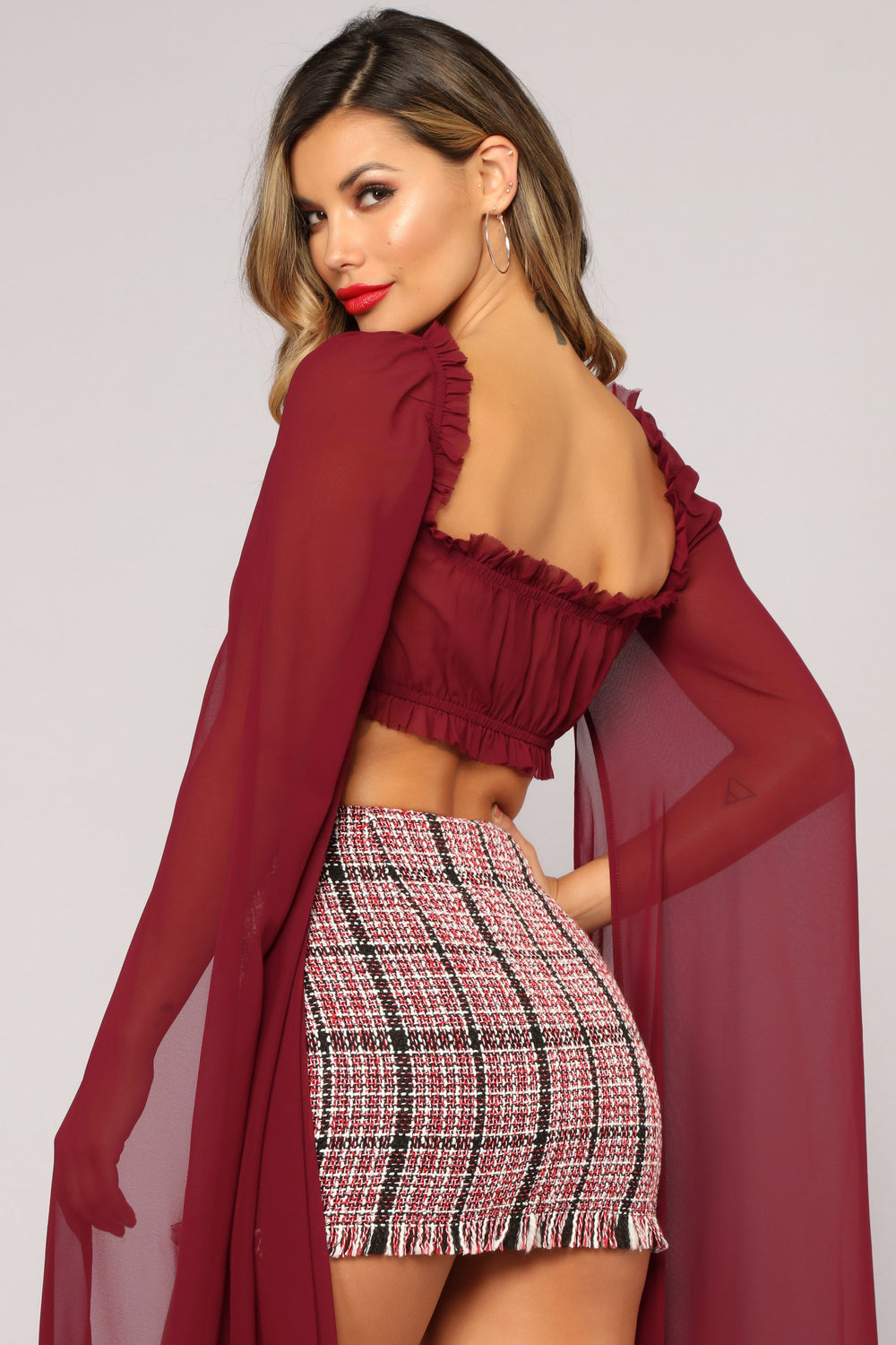 Love To Love You Crop Top - Burgundy