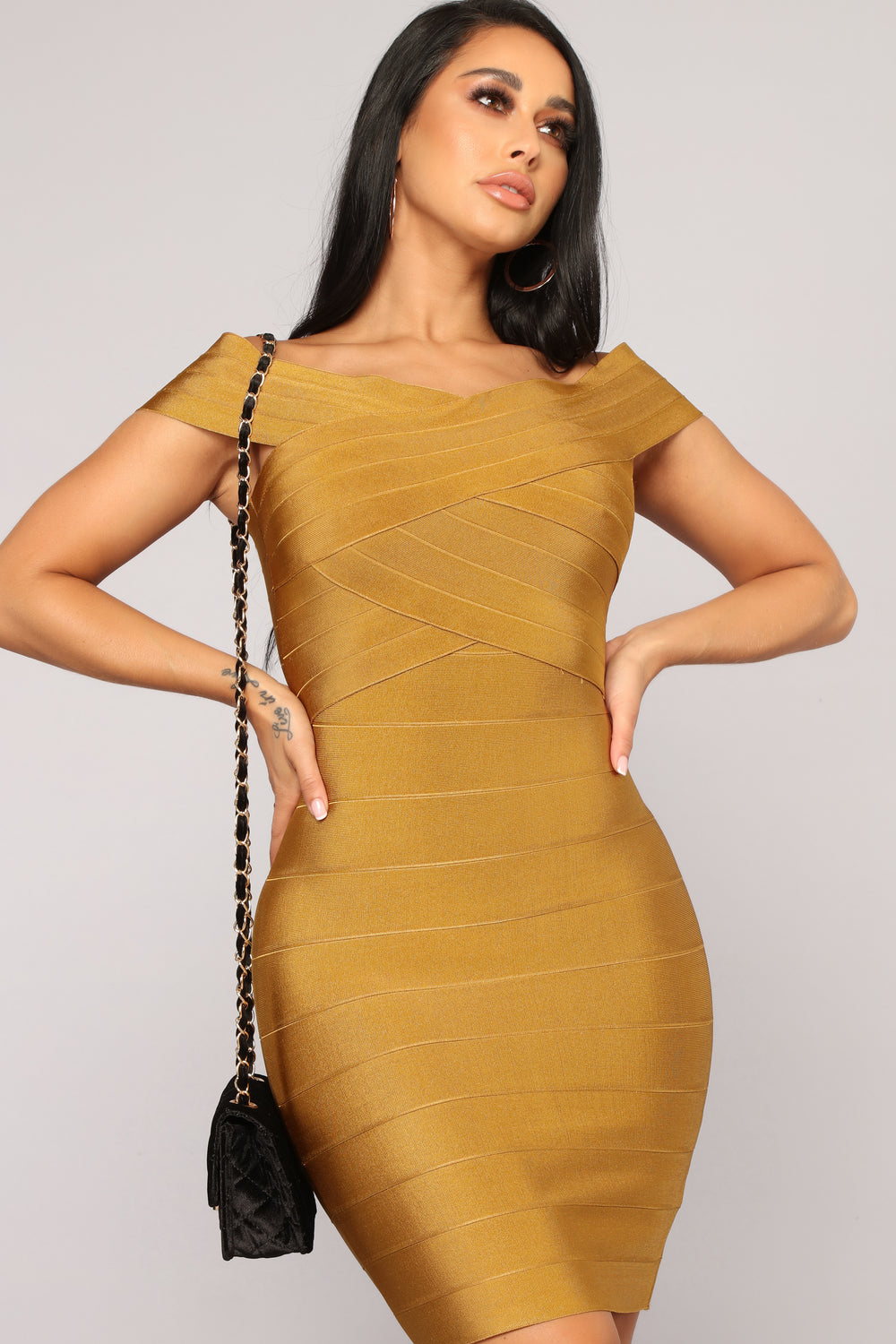Cross My Body Dress - Mustard