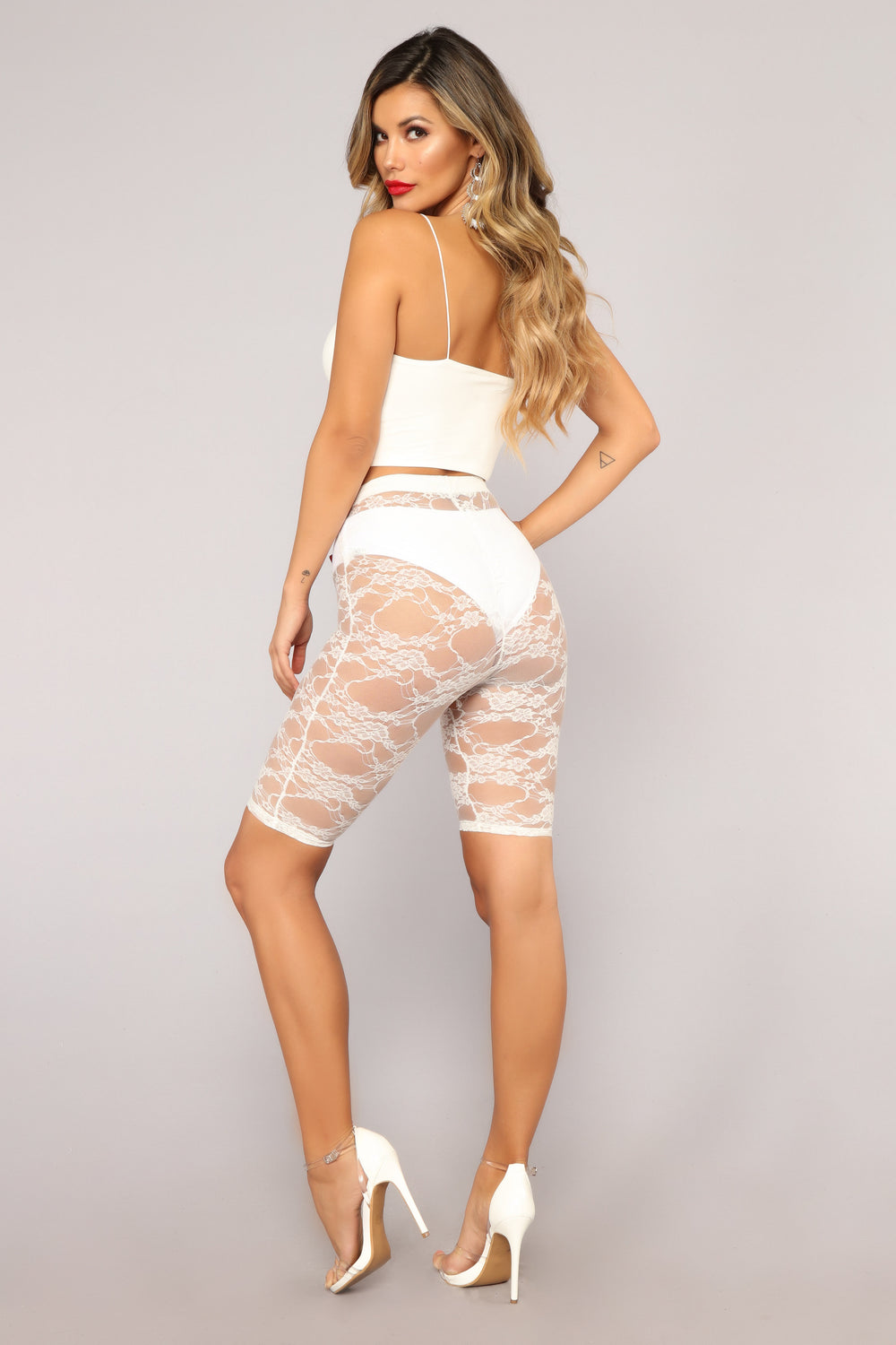 Aaliyah Lace Biker Shorts - White