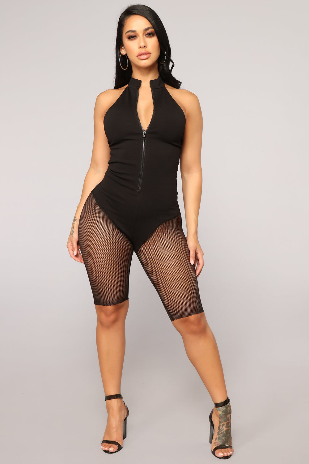 You Caught Me Romper - Black