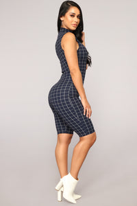 Grid and Bear It Romper - Navy
