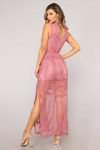 Set The Date Lace Dress - Rose