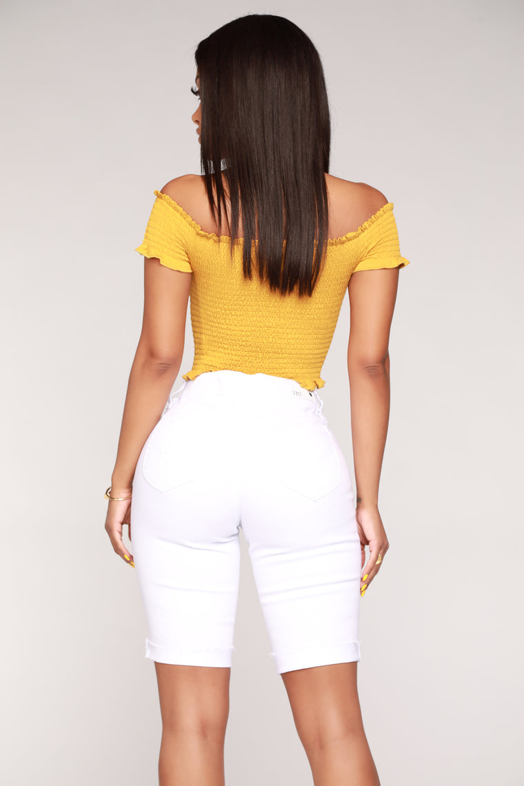 Chillin' With Friends Off Shoulder Top - Mustard
