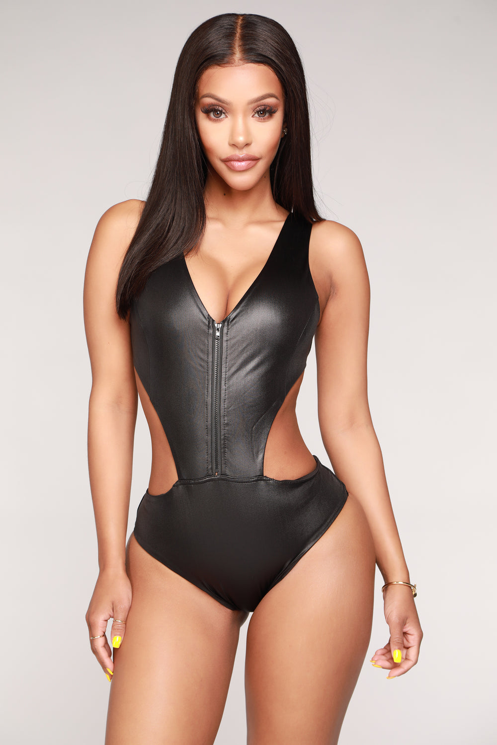 Sadie Zip Up Monokini - Black