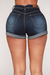 No Muffin Top Denim Shorts - Dark Denim