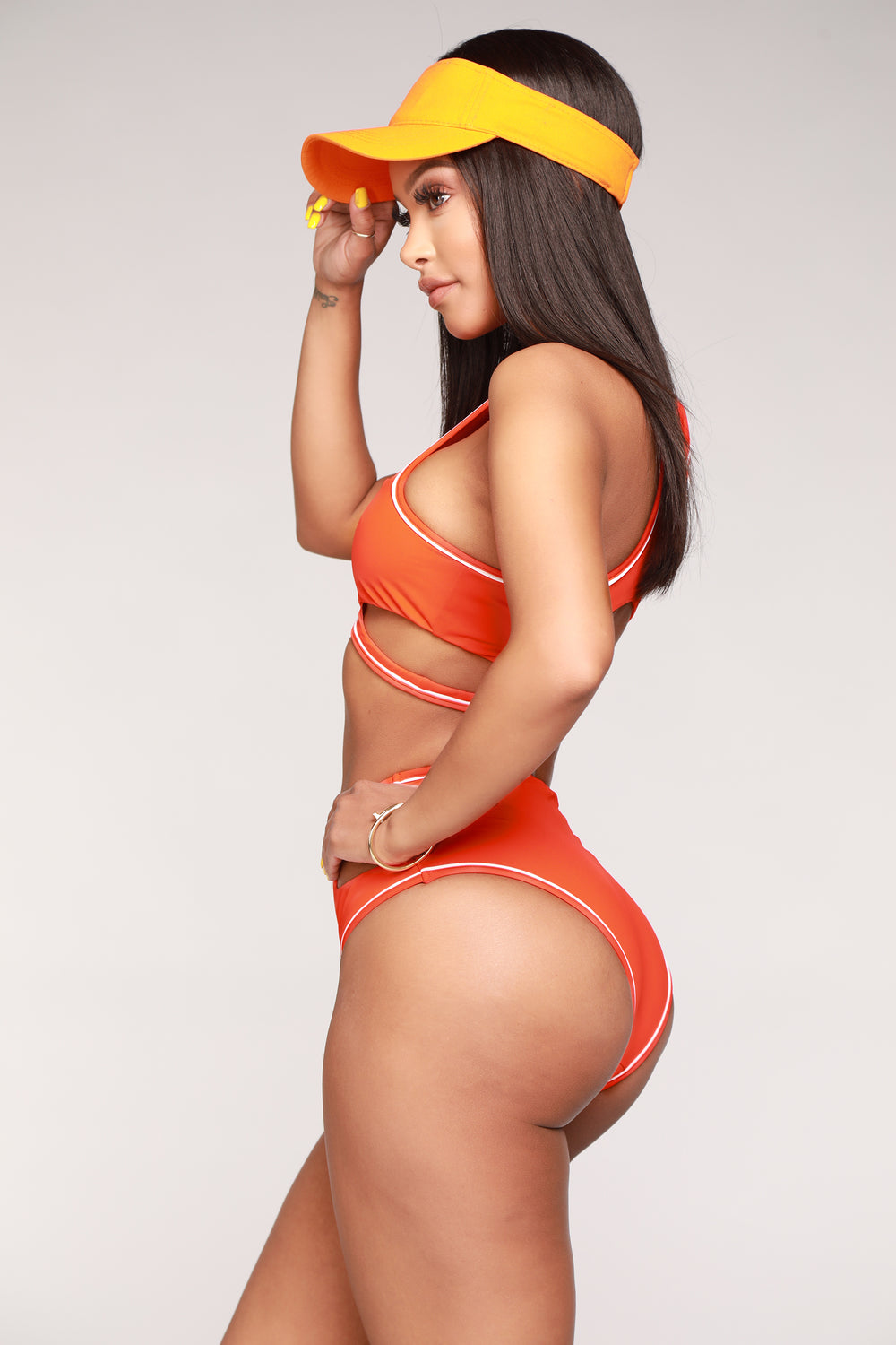 Layla Cut Out Bikini Set - Orange/White