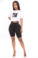 Left Eye Crop Top - White