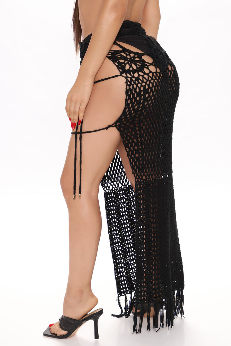Vacation Villa Crochet Skirt Cover Up - Black