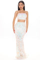 On That Shine Sequin Skirt Set - White/combo