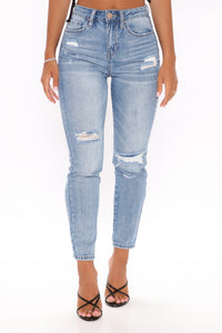 Felicia Rip And Repair Ankle Jeans - Medium Blue Wash Angle 2