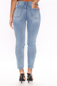 Felicia Rip And Repair Ankle Jeans - Medium Blue Wash Angle 4