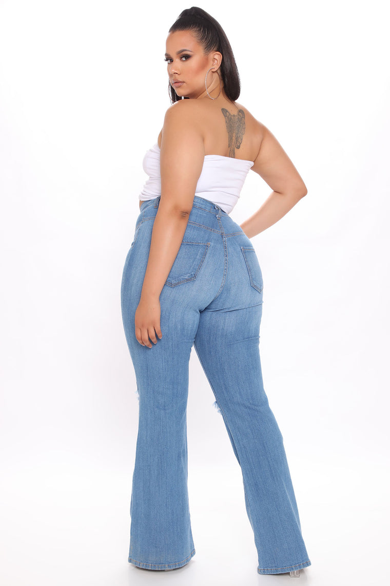 Here To Stay Flare Jeans - Medium Blue Wash