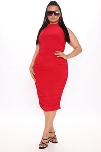 Perfectly Polished Ruched Midi Dress - Red Angle 6