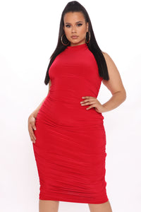 Perfectly Polished Ruched Midi Dress - Red Angle 4