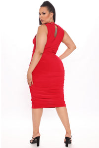 Perfectly Polished Ruched Midi Dress - Red Angle 5