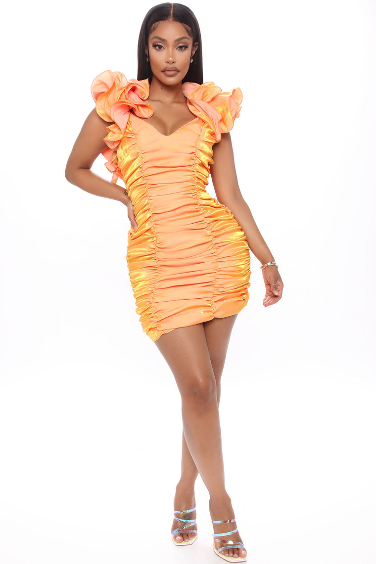 Call Me Senorita Ruched Mini Dress - Orange