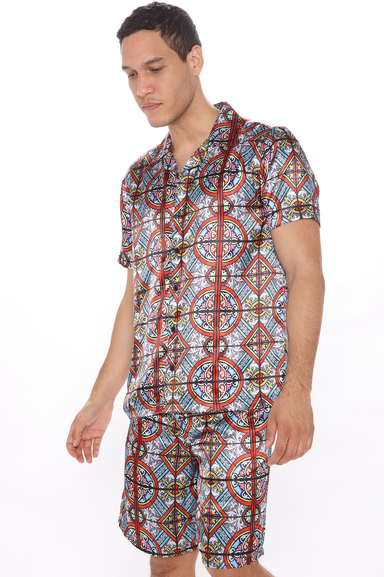 Natural Mystic Short Sleeve Woven Top - Multi Color