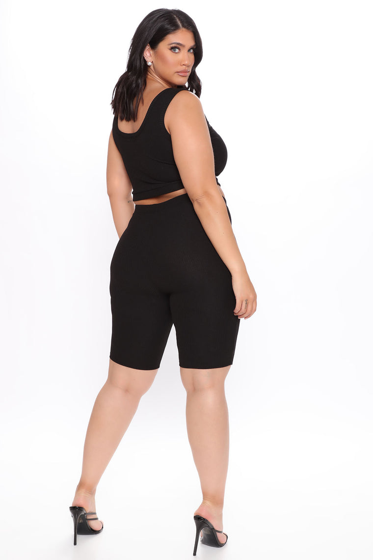 Sunday Blessings Biker Short Matching Set - Black