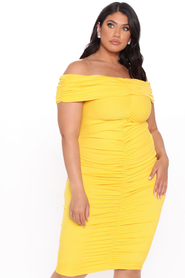 Come To Decide Off Shoulder Midi Dress - Yellow