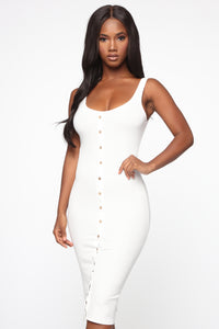 Allis Midi Dress - White