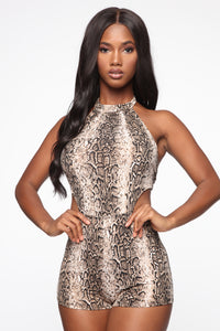 All The Sass Snake Print Romper - Brown Angle 1