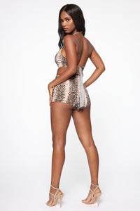 All The Sass Snake Print Romper - Brown Angle 4