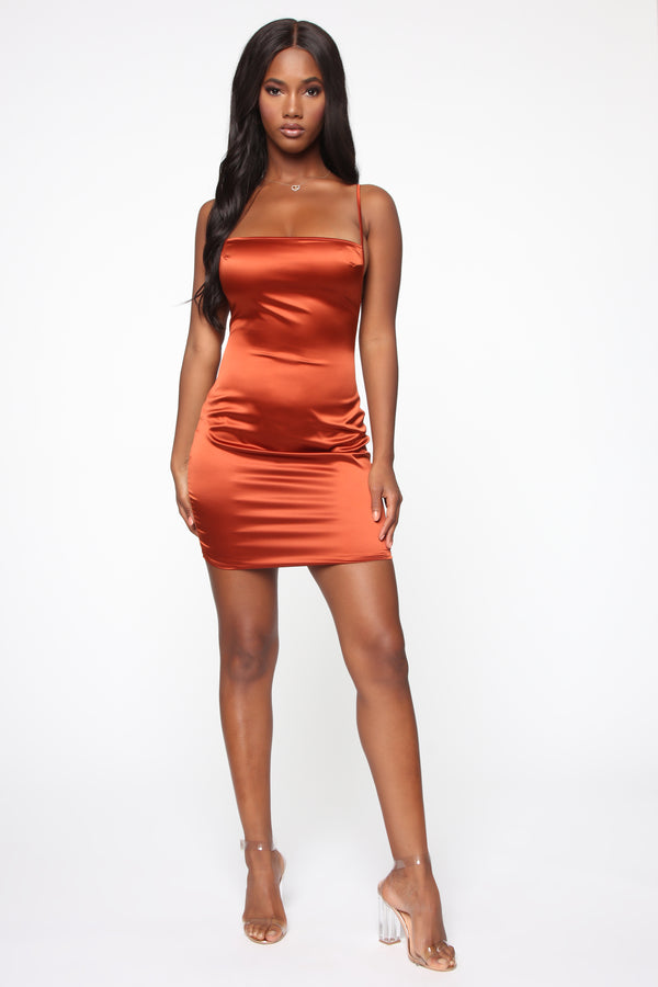 c001682072c3 Taia Satin Mini Dress - Rust