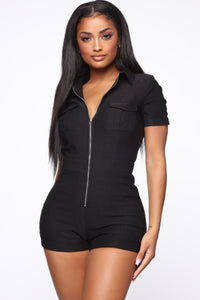 Don't Bother Cargo Romper - Black