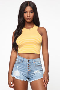 All Or Nothing Crop Top - Yellow Angle 1