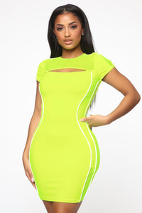All About Being Bold Mini Dress - Neon Yellow