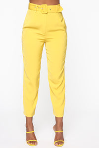 Irene Belted Crop Pants - Mustard
